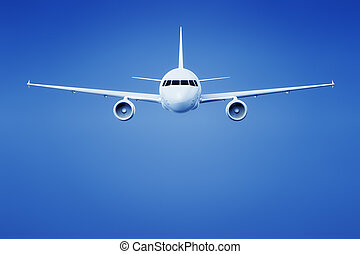airplane in the bright blue sky