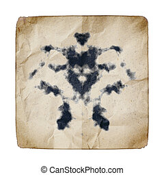 old paper with Rorschach graphic - An image of an old paper...