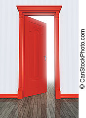 An image of an open red door