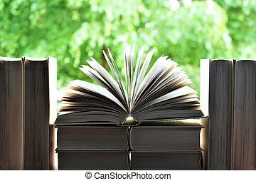 An image of book in front of a open window