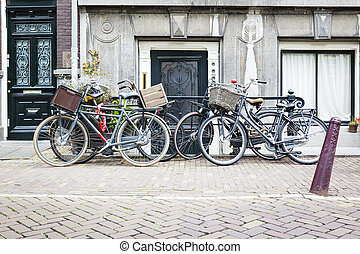 four bicycles in Amsterdam