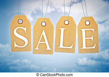 sales tags in the blue sky - An image of nice sales tags in ...