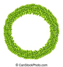 Plant Leaf Leaves Green Wreath Frame Board