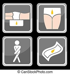 Urinary Incontinence Protection Icon Set - An image of...