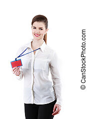 An image of young beautiful woman showing red card
