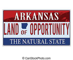 An imitation Arkansas license plate