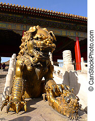 An imperial guardian lion (Shishi) in front of the gate of Heavenly Purity in the Forbidden City, Beijing, China.