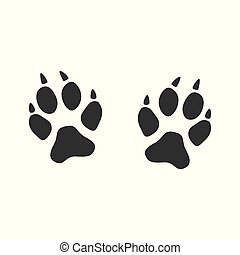 An imprint of the paws of a fox, cat or wild animal with claws.