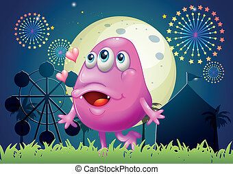 An in-love pink monster at the carnival