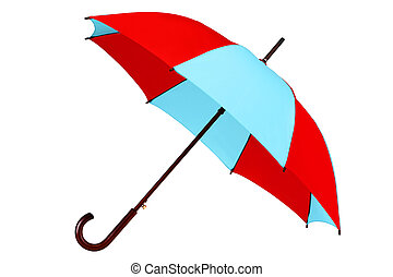 inclined umbrella on white background with clipping path