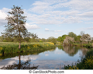 an incredible river running through the country location and landscape outside in the country with reflections in the lake and lots of colour on a summer afternoon in essex uk england and no people