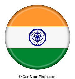 India flag button illustration with clipping path