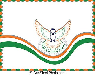 An Indian flag card with the flying pigeon and copy space for your text on white color background for Independence Day and Republic Day.