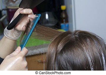 An individual entrepreneur provides services at home. The hairdresser paints the hair of a woman. Combing and distribution of strands.