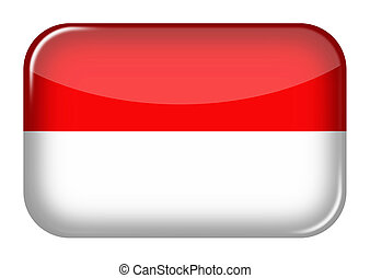 Indonesia web icon rectangle button with clipping path 3d illustration