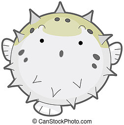 Puffer Fish - An Inflated Puffer Fish Isolated against White...