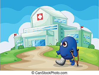 An injured blue monster going to the hospital