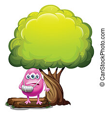An injured pink beanie monster standing under the giant tree