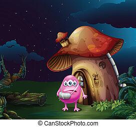 An injured pink monster near the mushroom house