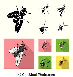 An insect arthropod, an osa, a spider, a cockroach. Insects set collection icons in black, flat style vector symbol stock isometric illustration web.