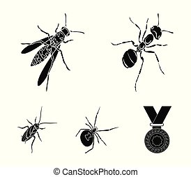 An insect arthropod, an osa, a spider, a cockroach. Insects set collection icons in black style vector symbol stock isometric illustration web.