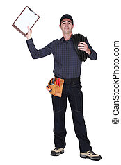 An inspector holding up a clipboard