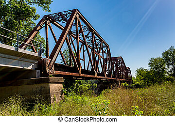 An Interesting View of an Old Iconic Iron Truss Railroad Bridge