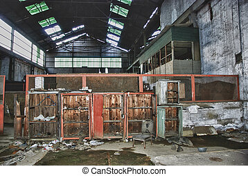 an interior of an abandoned factory