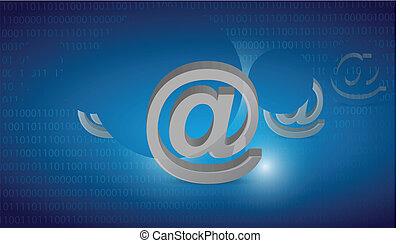an, internet, ausgewählt, auf, a, blaues, binärer