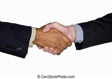 interracial business handshake