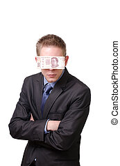 An interrogative businessman blindfolded by a 500 mexican pesos note