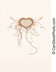 heart form. - An intricate piece of ornate, organic scroll...