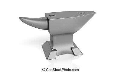 An iron anvil, isolated on white background
