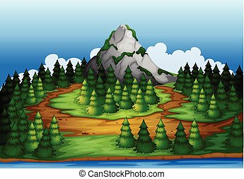 An island full of pine trees - Illustration of an island...