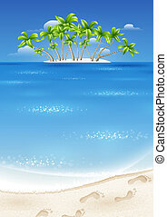Island with palm trees in the tropics. Summer holiday by the sea