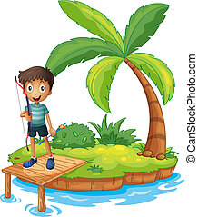 An island with a boy holding an archery
