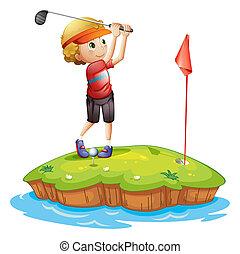 An island with a boy playing golf