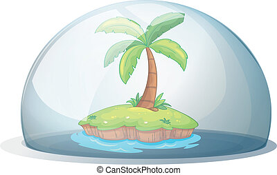 An island with a coconut tree