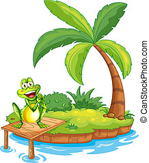 An island with a frog above the wooden bridge