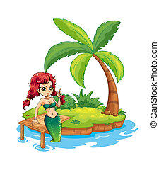 An island with a mermaid