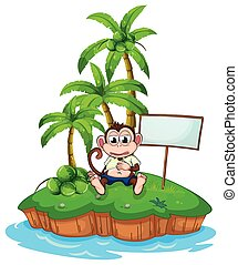 An island with a monkey and a signboard - An island with a...