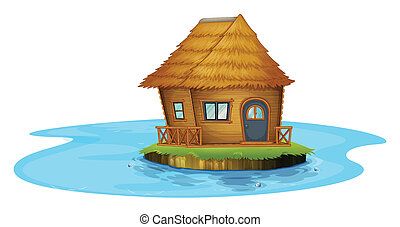 An island with a small house