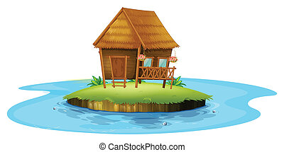 An island with a small nipa hut - Illustration of an island...