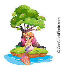 An island with a smiling mermaid