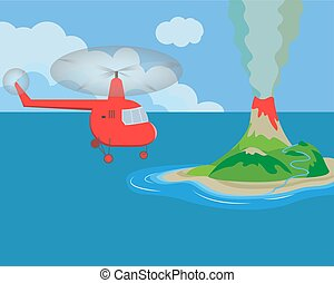 An island with an erupting volcano in the ocean. Helicopter flying over the island. Vector illustration.