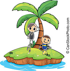 An island with two boys