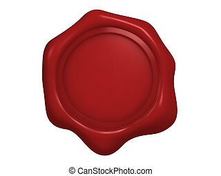 An isolated blank red wax seal on white background