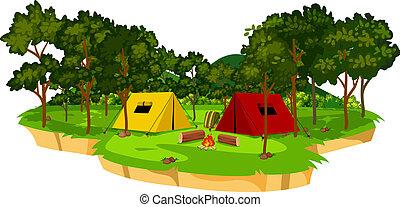 An isolated campsite scene illustration