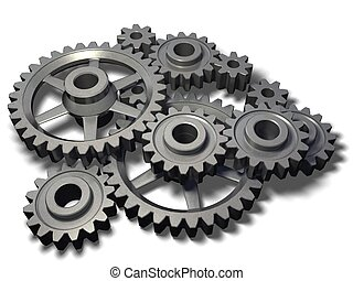 An isolated cogwheel mechanism on white background