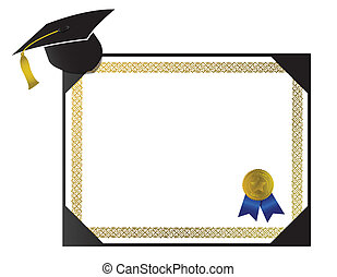 College Diploma with cap and tassel - An isolated generic ...